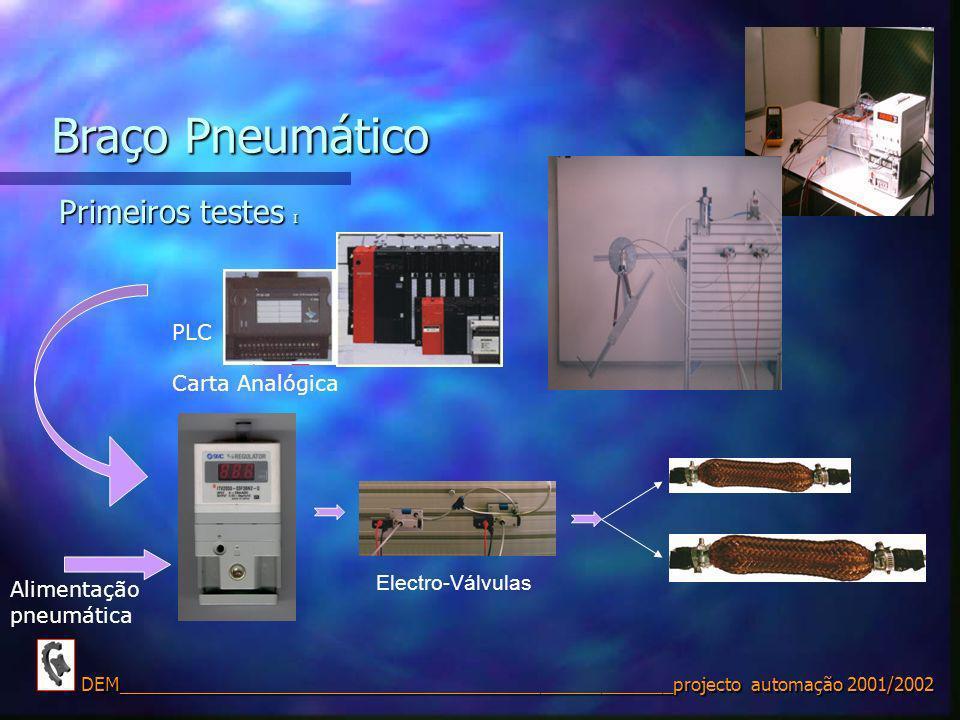 Braço Pneumático Primeiros testes I PLC Carta Analógica