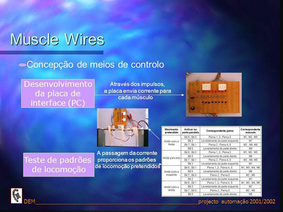 Muscle Wires Concepção de meios de controlo Desenvolvimento
