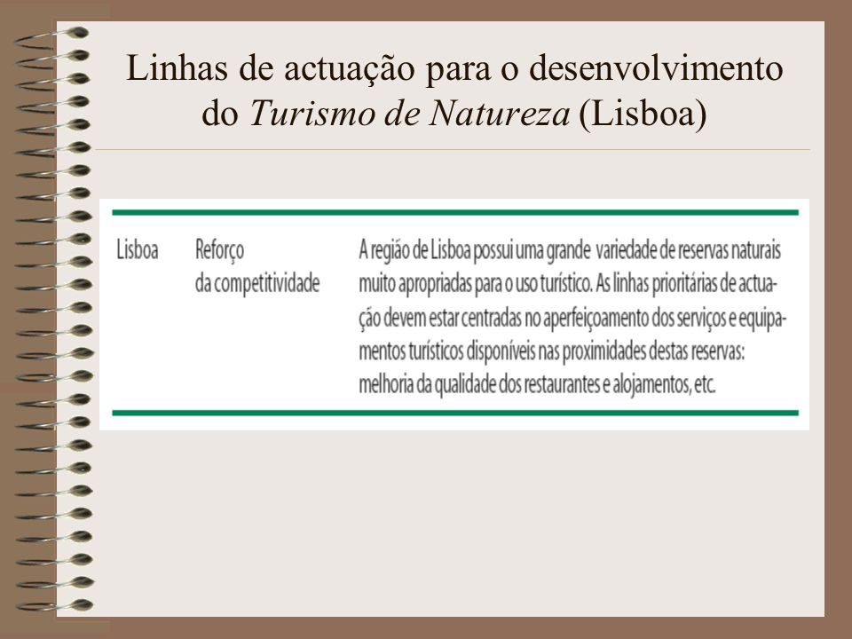 Linhas de actuação para o desenvolvimento do Turismo de Natureza (Lisboa)