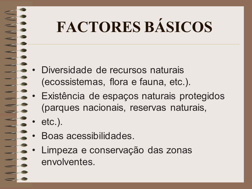 FACTORES BÁSICOS Diversidade de recursos naturais (ecossistemas, flora e fauna, etc.).