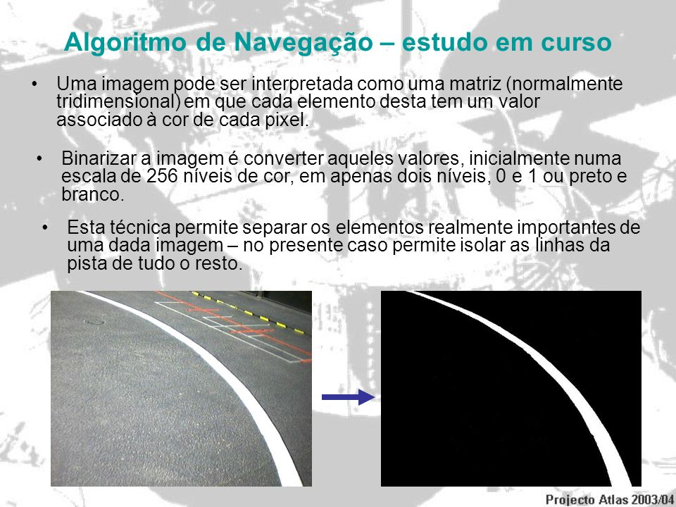 Algoritmo de Navegação – estudo em curso