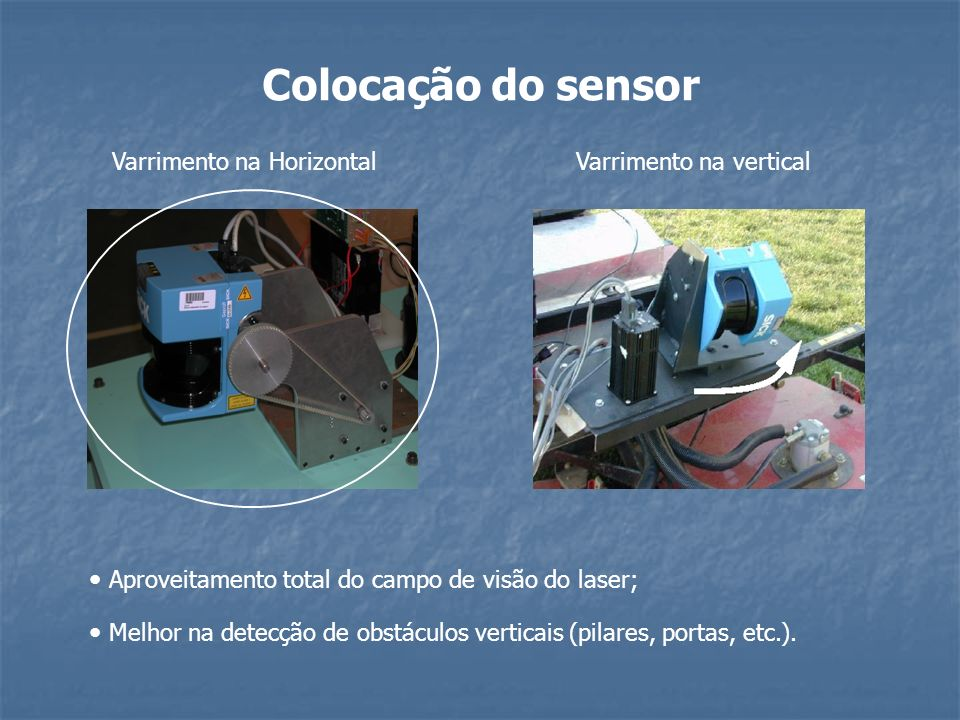 Colocação do sensor Aproveitamento total do campo de visão do laser;