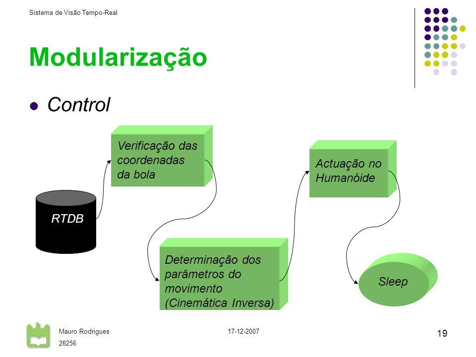 Modularização Control Verificação das coordenadas da bola