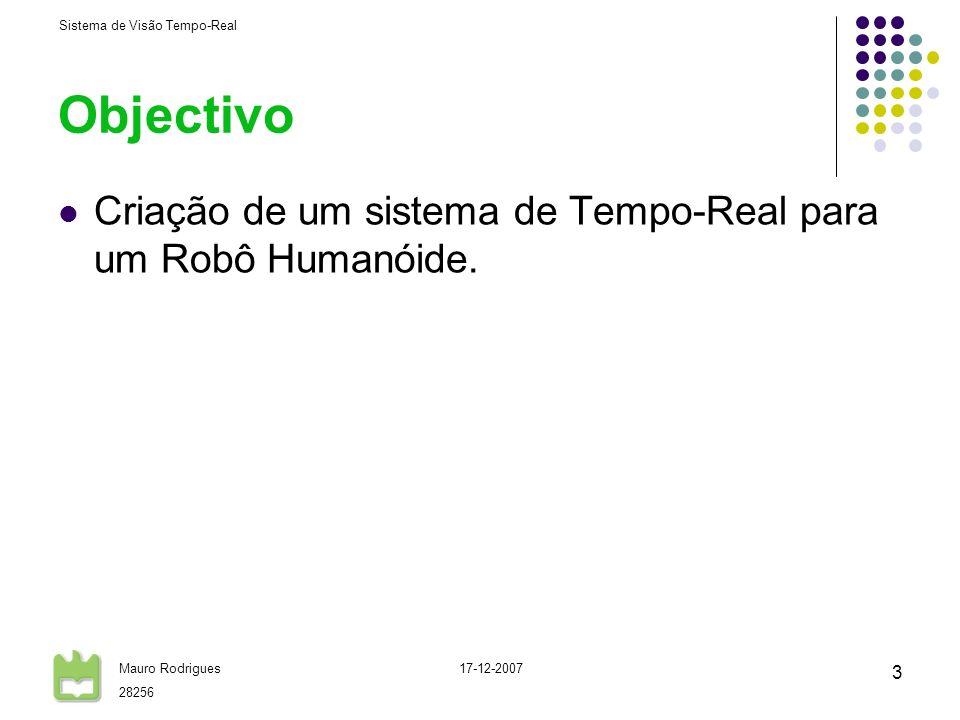Objectivo Criação de um sistema de Tempo-Real para um Robô Humanóide.