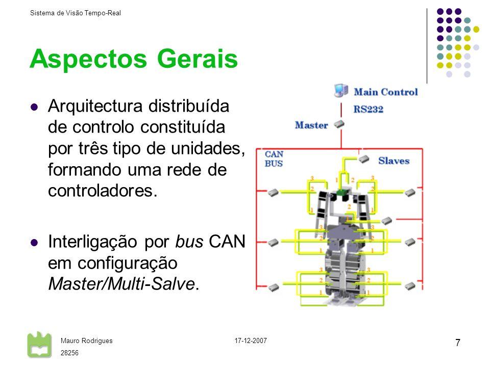 Aspectos Gerais Arquitectura distribuída de controlo constituída por três tipo de unidades, formando uma rede de controladores.