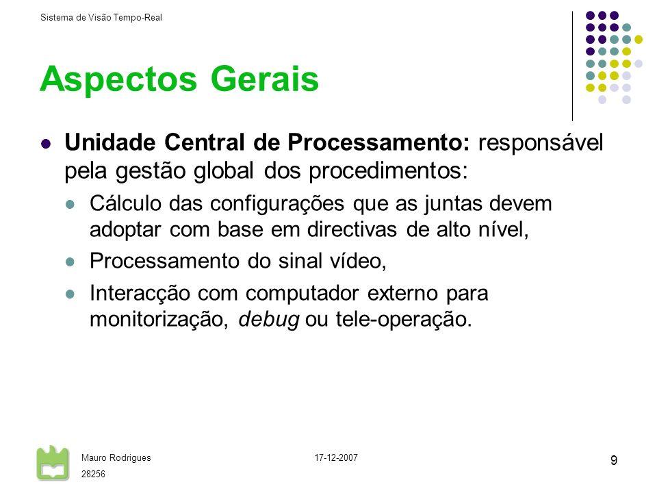 Aspectos Gerais Unidade Central de Processamento: responsável pela gestão global dos procedimentos: