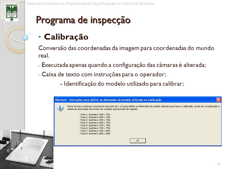 Programa de inspecção Calibração