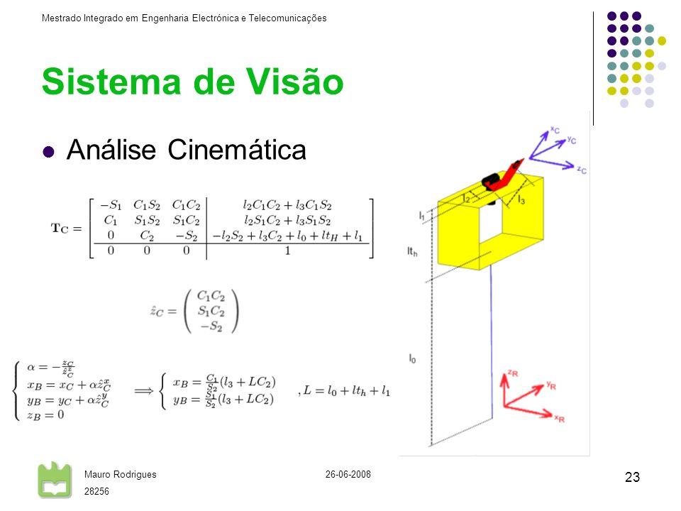Sistema de Visão Análise Cinemática 26-06-2008