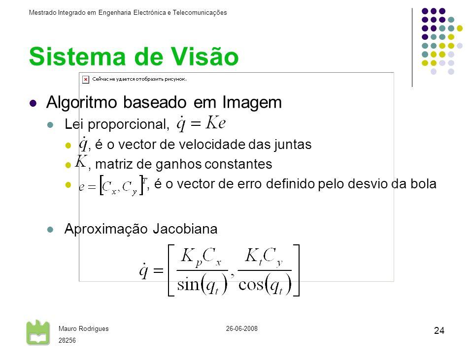 Sistema de Visão Algoritmo baseado em Imagem Lei proporcional,