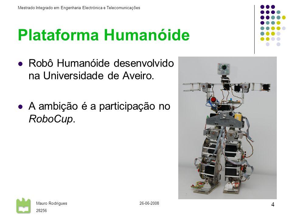 Plataforma HumanóideRobô Humanóide desenvolvido na Universidade de Aveiro. A ambição é a participação no RoboCup.
