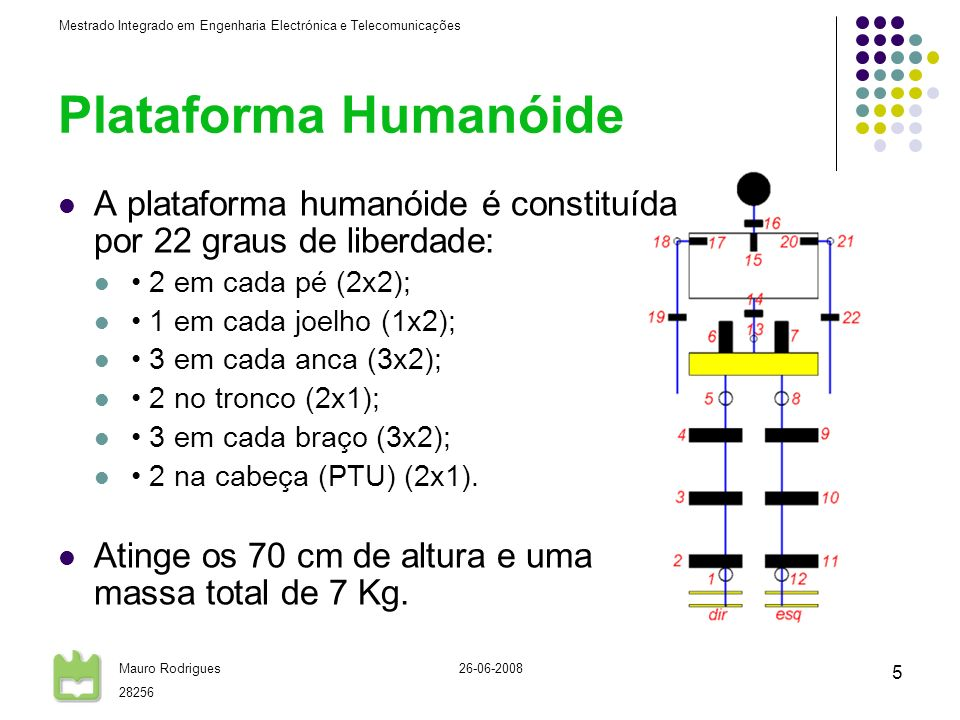 Plataforma HumanóideA plataforma humanóide é constituída por 22 graus de liberdade: • 2 em cada pé (2x2);