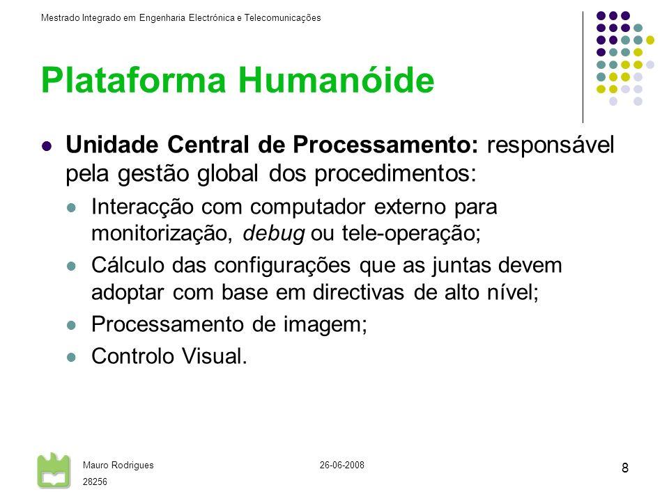Plataforma Humanóide Unidade Central de Processamento: responsável pela gestão global dos procedimentos: