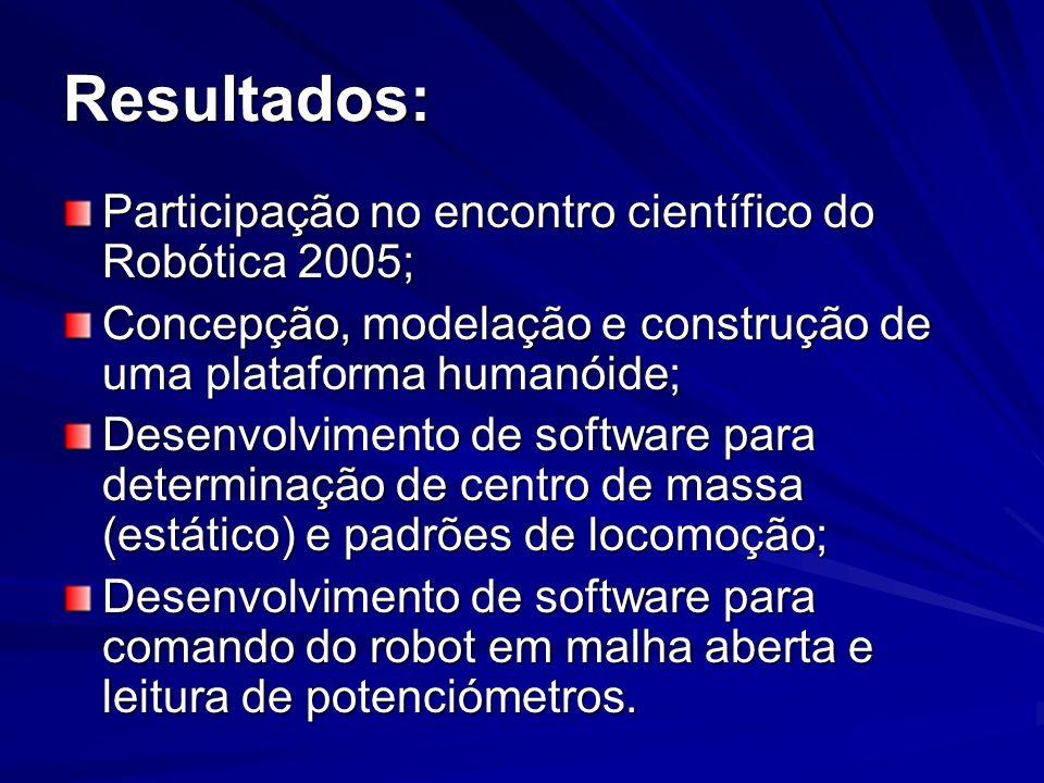 Resultados: Participação no encontro científico do Robótica 2005;