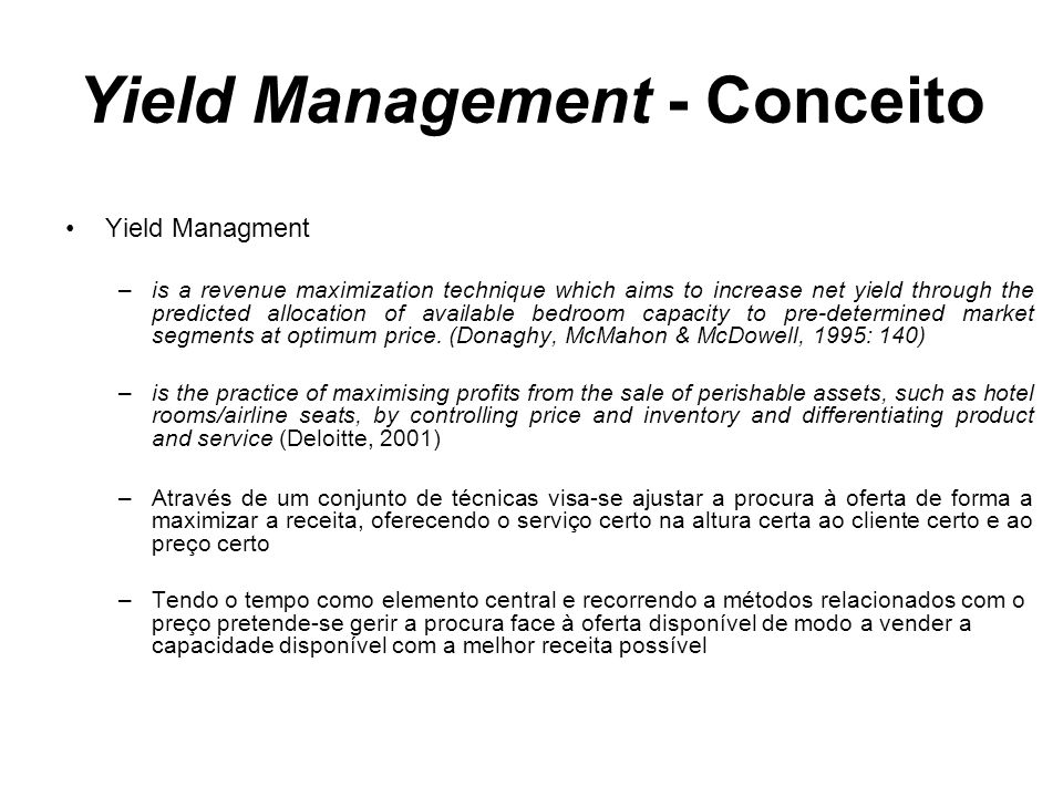 Yield Management - Conceito