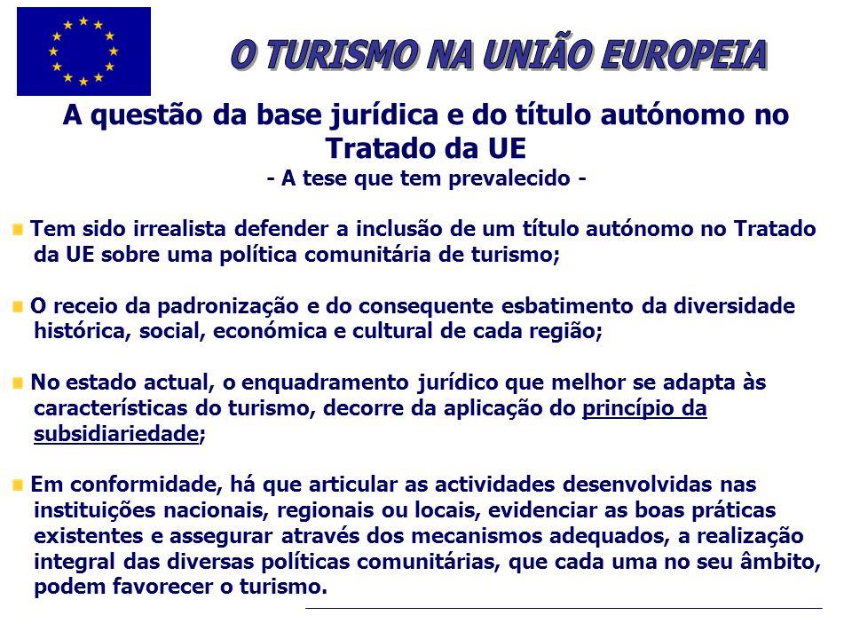 O TURISMO NA UNIÃO EUROPEIA - A tese que tem prevalecido -