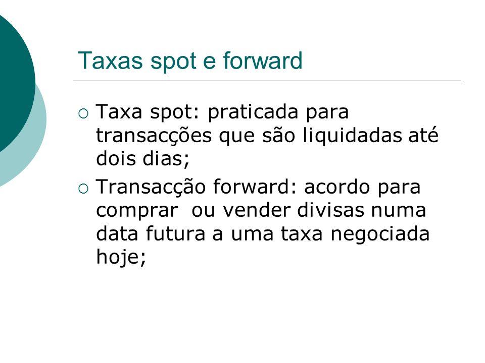 Taxas spot e forward Taxa spot: praticada para transacções que são liquidadas até dois dias;