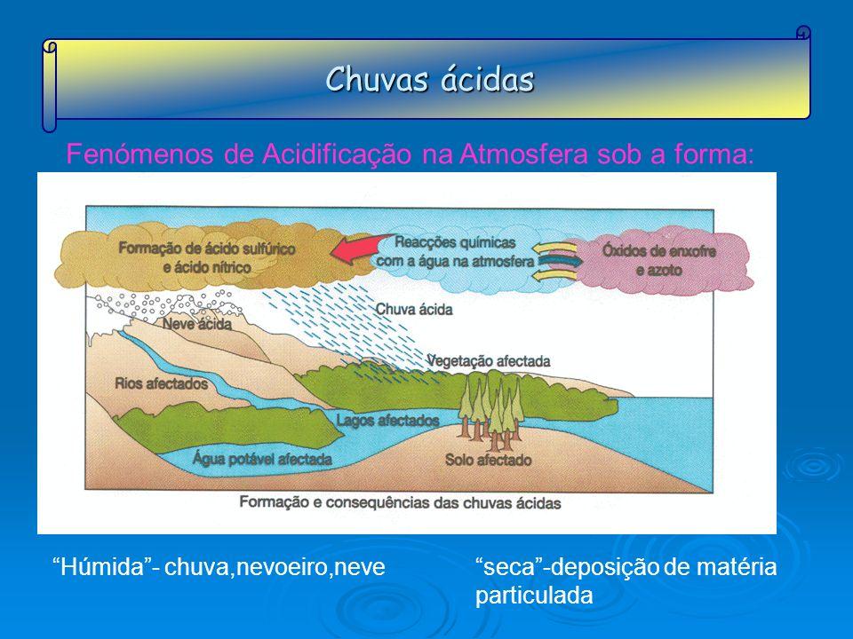Chuvas ácidas Fenómenos de Acidificação na Atmosfera sob a forma: