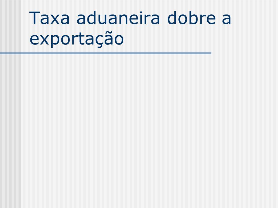 Taxa aduaneira dobre a exportação