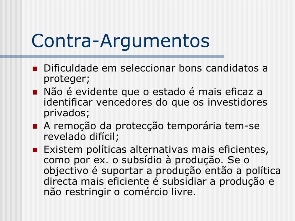 Contra-ArgumentosDificuldade em seleccionar bons candidatos a proteger;