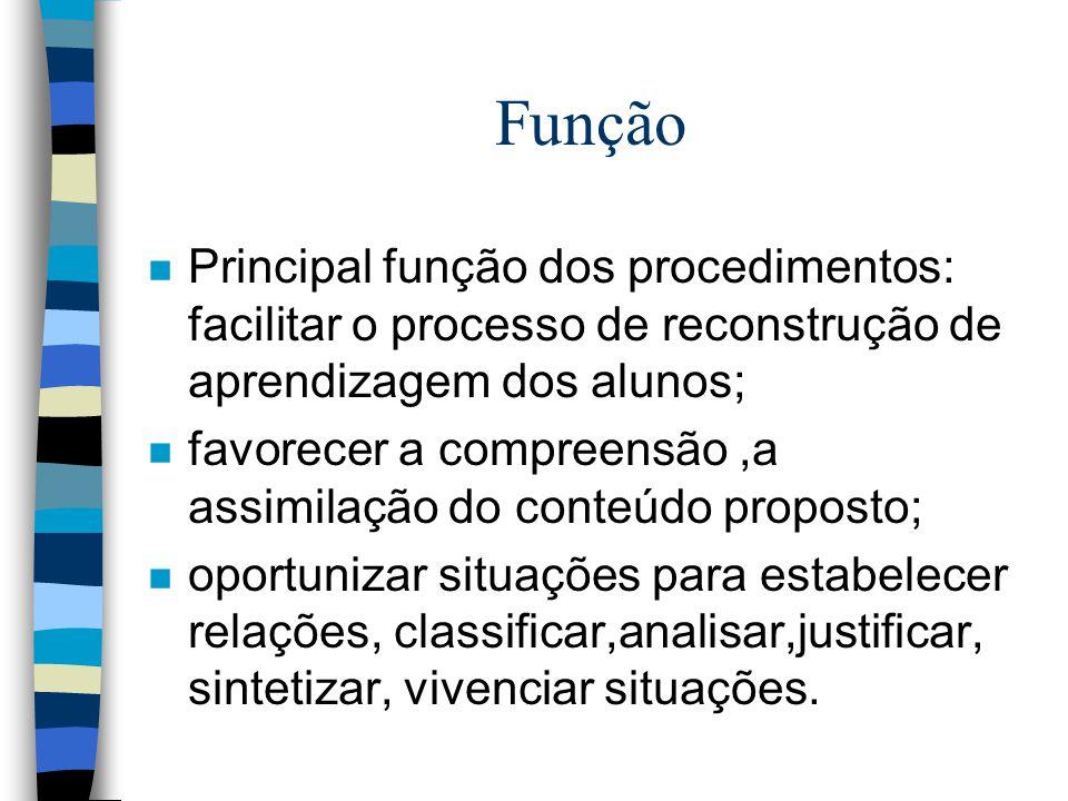 Função Principal função dos procedimentos: facilitar o processo de reconstrução de aprendizagem dos alunos;