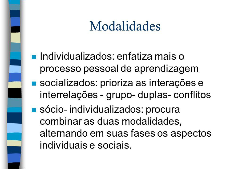 Modalidades Individualizados: enfatiza mais o processo pessoal de aprendizagem.