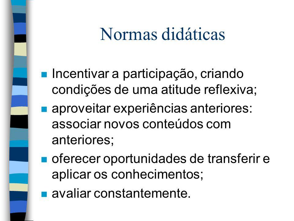 Normas didáticas Incentivar a participação, criando condições de uma atitude reflexiva;