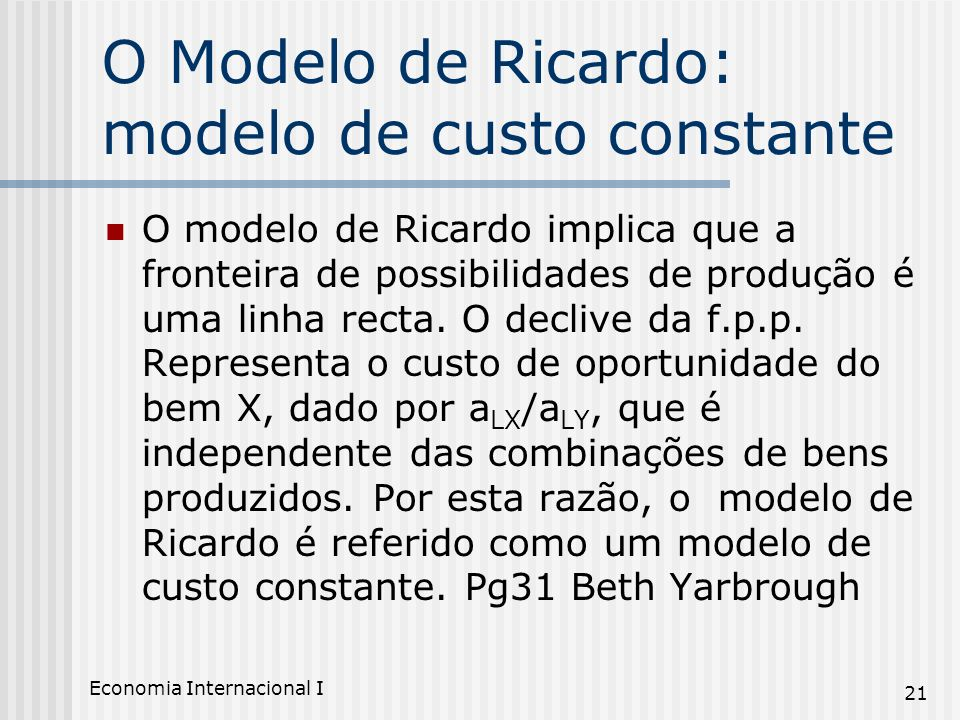 O Modelo de Ricardo: modelo de custo constante
