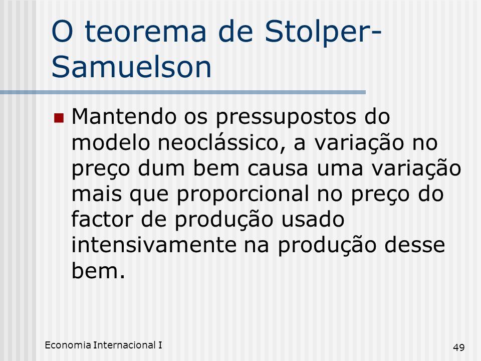 O teorema de Stolper-Samuelson