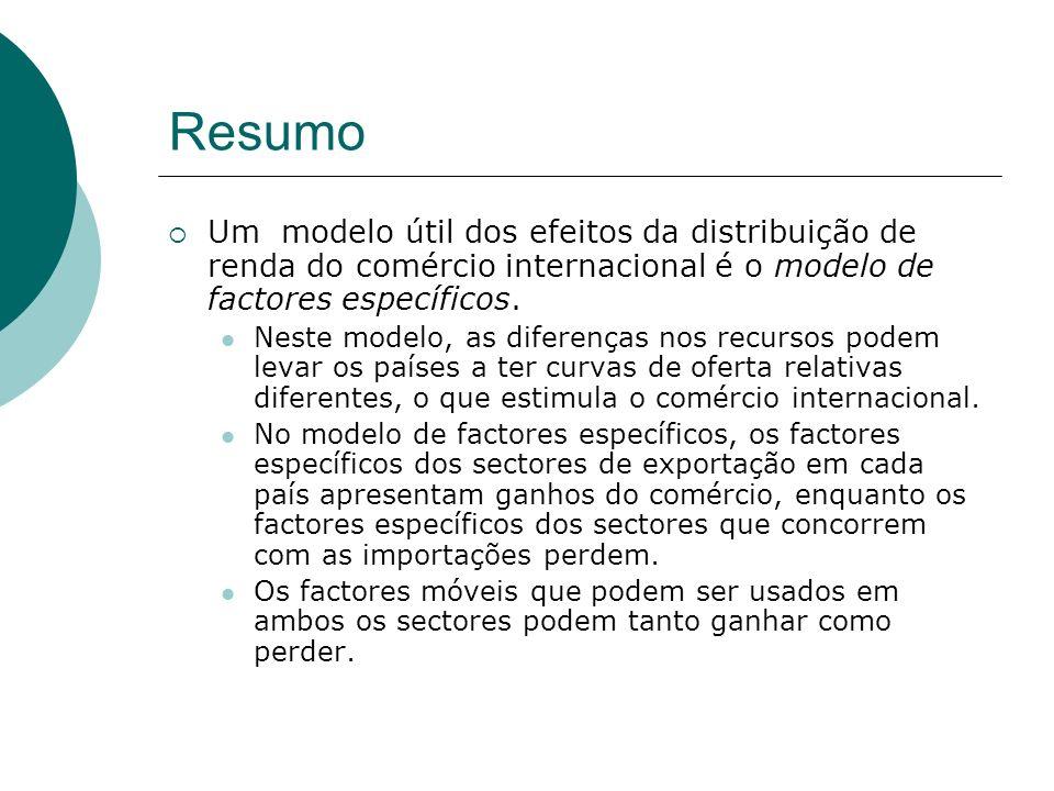 Resumo Um modelo útil dos efeitos da distribuição de renda do comércio internacional é o modelo de factores específicos.