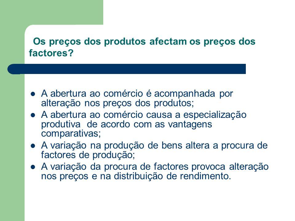 Os preços dos produtos afectam os preços dos factores