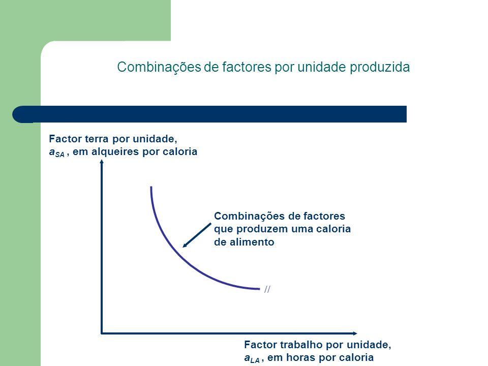 Combinações de factores por unidade produzida