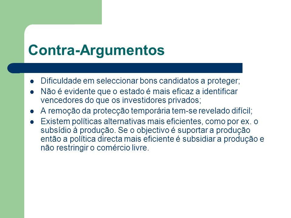 Contra-Argumentos Dificuldade em seleccionar bons candidatos a proteger;