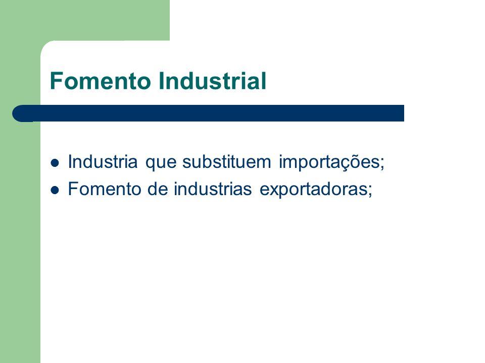 Fomento Industrial Industria que substituem importações;