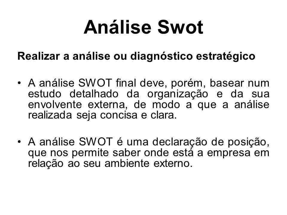 Análise Swot Realizar a análise ou diagnóstico estratégico