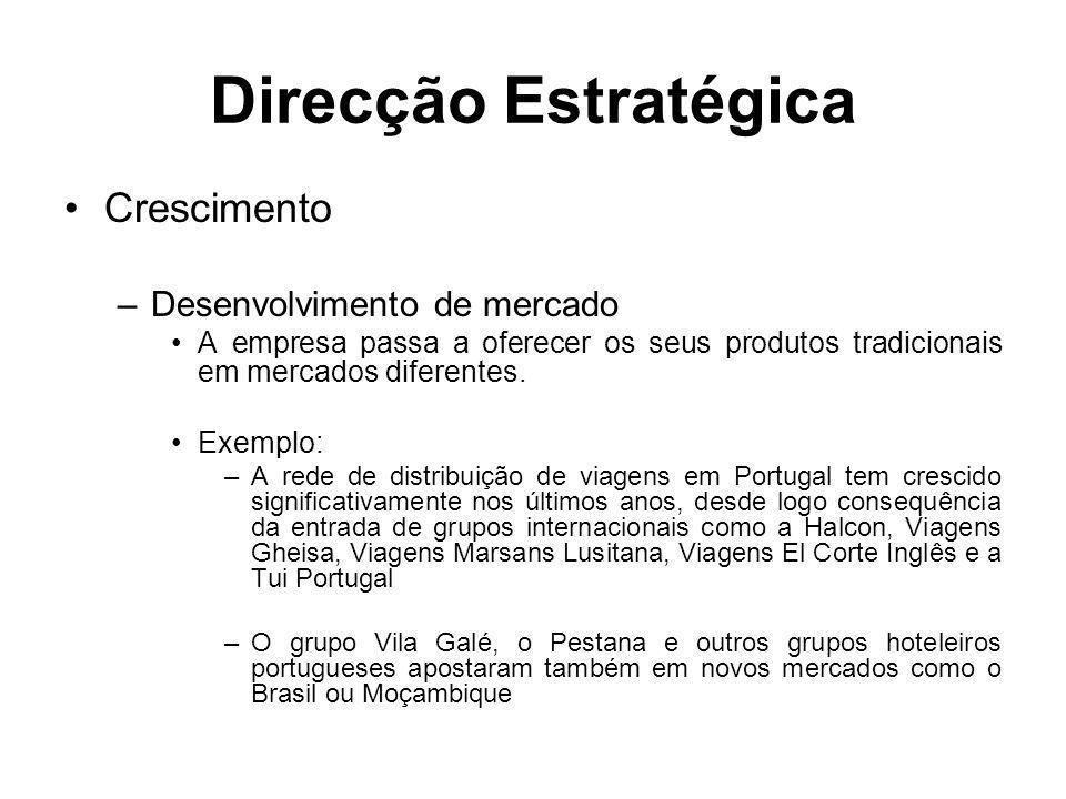 Direcção Estratégica Crescimento Desenvolvimento de mercado