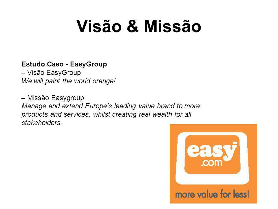 Visão & Missão Estudo Caso - EasyGroup – Visão EasyGroup