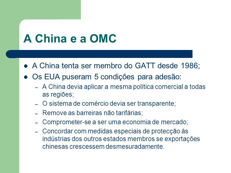 A China e a OMC A China tenta ser membro do GATT desde 1986;