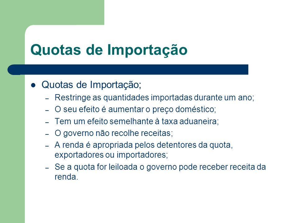 Quotas de Importação Quotas de Importação;