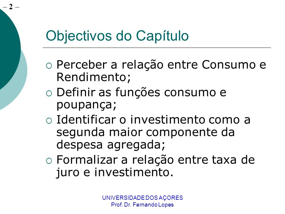 Objectivos do Capítulo