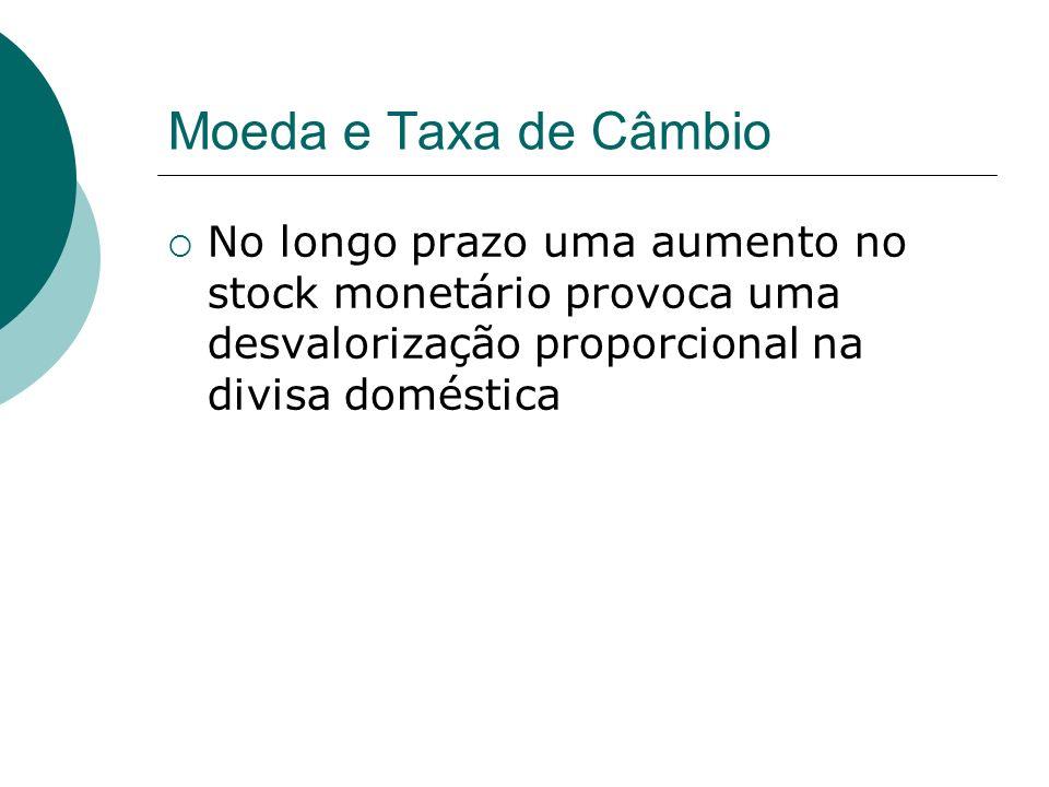 Moeda e Taxa de CâmbioNo longo prazo uma aumento no stock monetário provoca uma desvalorização proporcional na divisa doméstica.