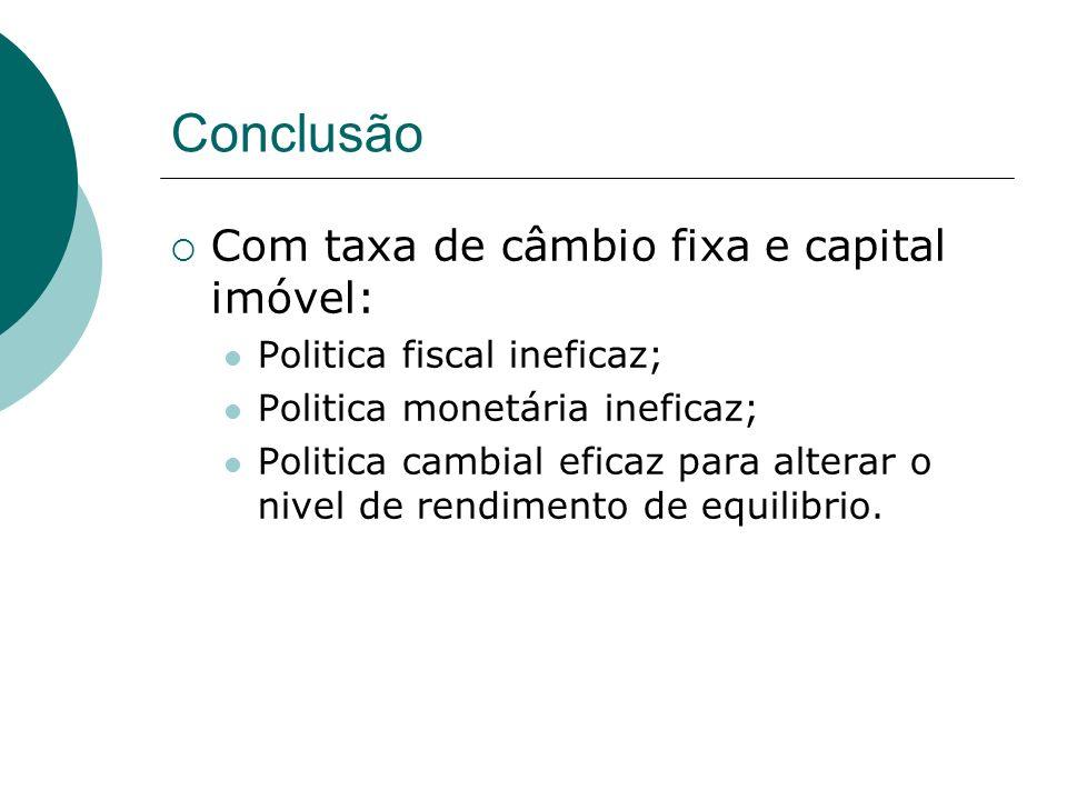 Conclusão Com taxa de câmbio fixa e capital imóvel: