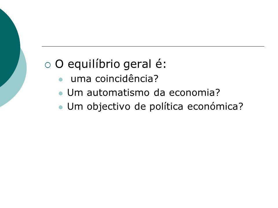 O equilíbrio geral é: uma coincidência Um automatismo da economia