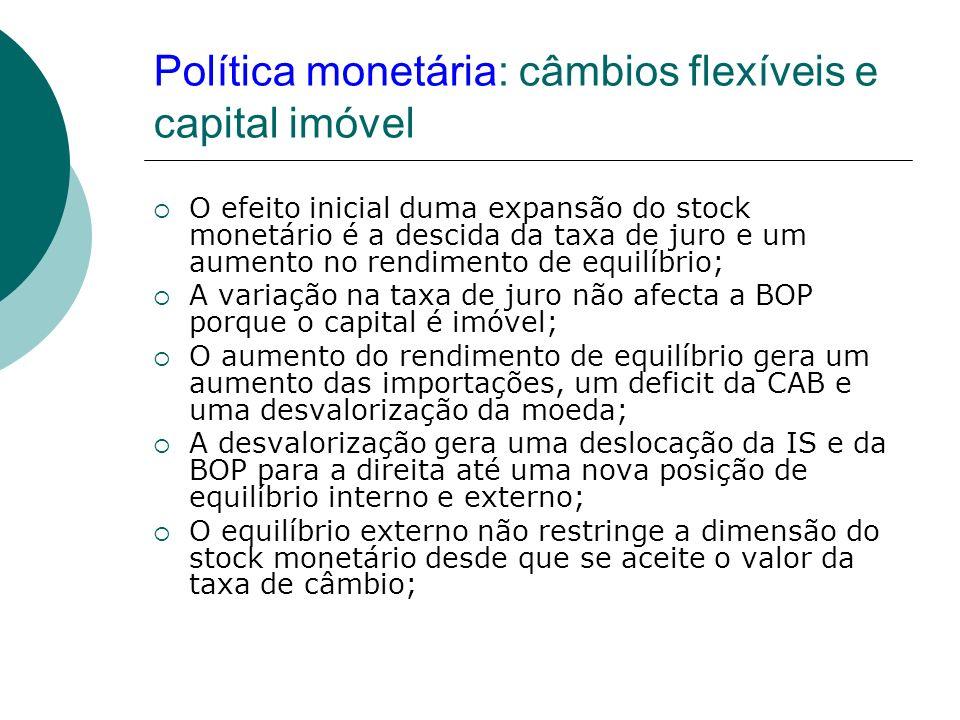 Política monetária: câmbios flexíveis e capital imóvel