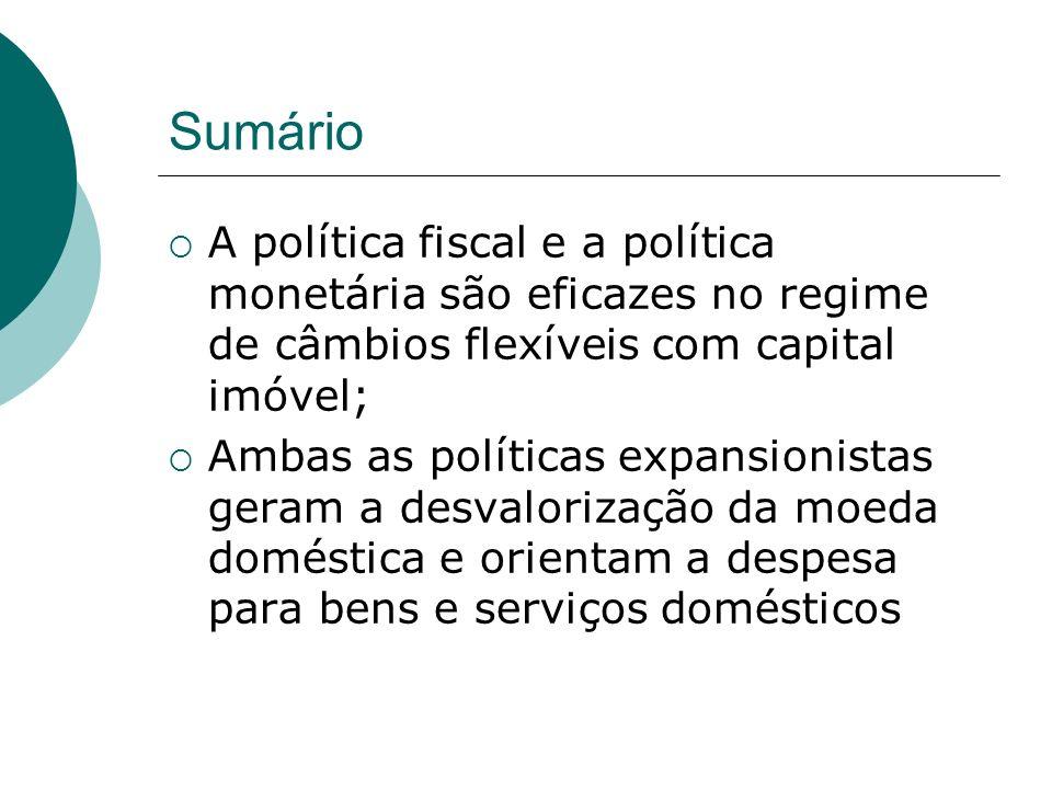 Sumário A política fiscal e a política monetária são eficazes no regime de câmbios flexíveis com capital imóvel;