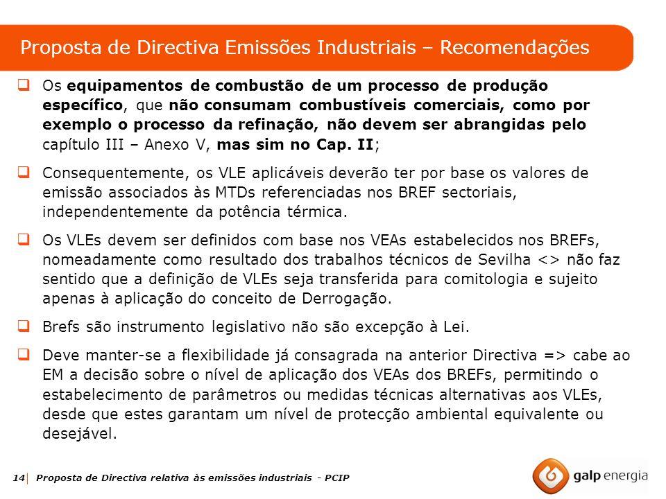 Proposta de Directiva Emissões Industriais – Recomendações