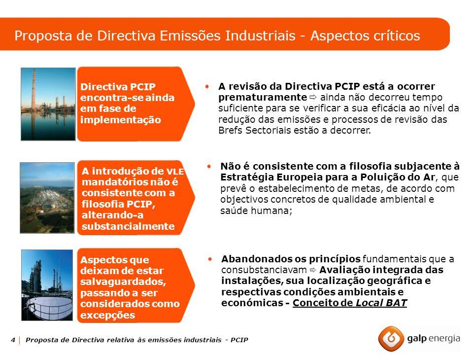 Proposta de Directiva Emissões Industriais - Aspectos críticos