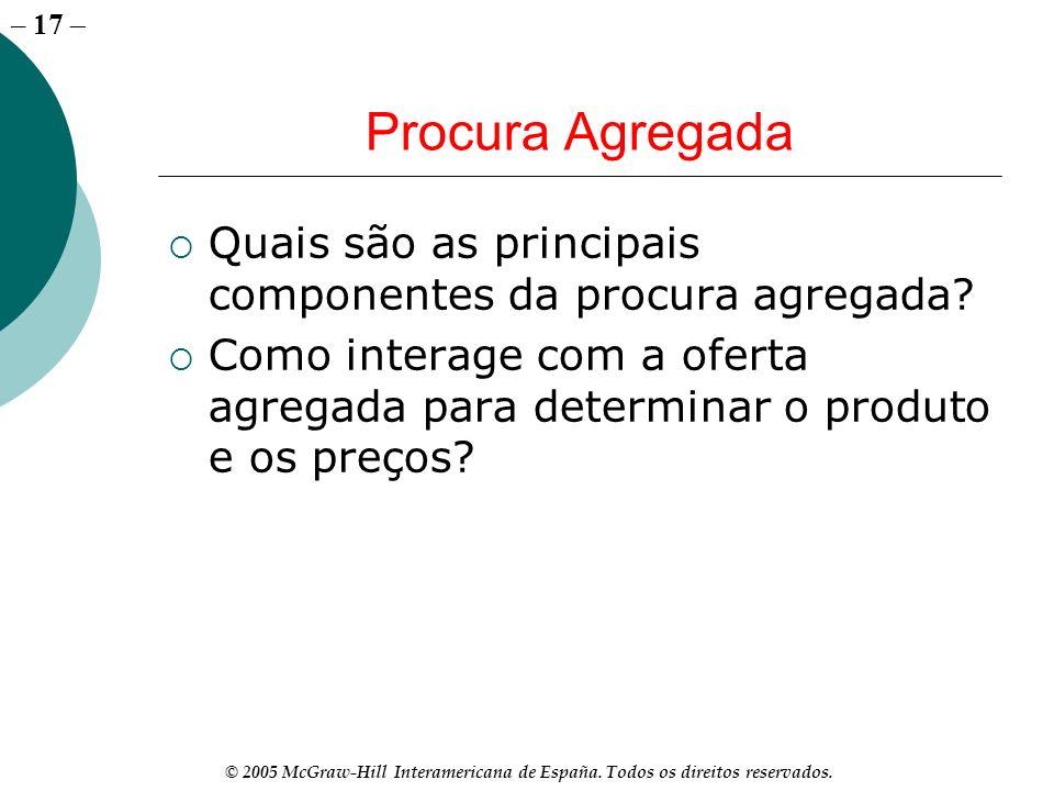 Procura AgregadaQuais são as principais componentes da procura agregada.