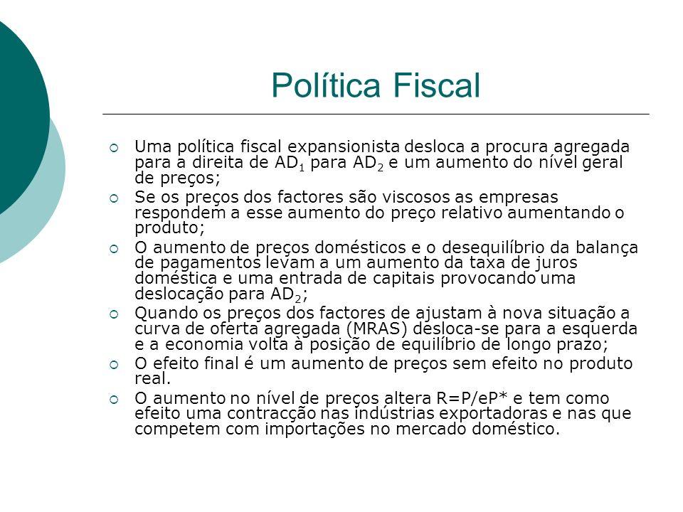 Política Fiscal Uma política fiscal expansionista desloca a procura agregada para a direita de AD1 para AD2 e um aumento do nível geral de preços;