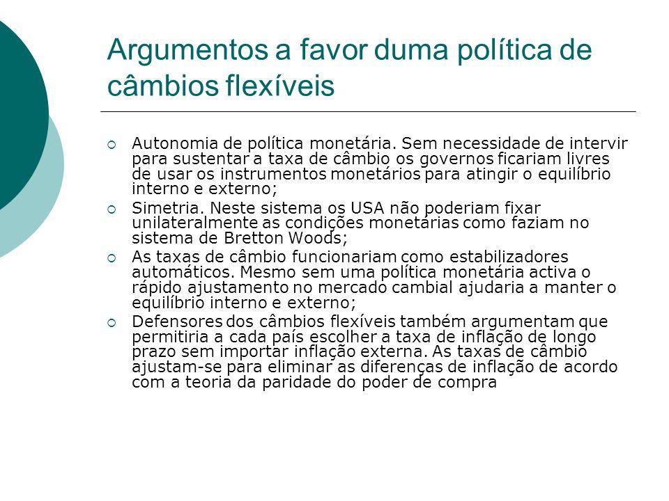Argumentos a favor duma política de câmbios flexíveis