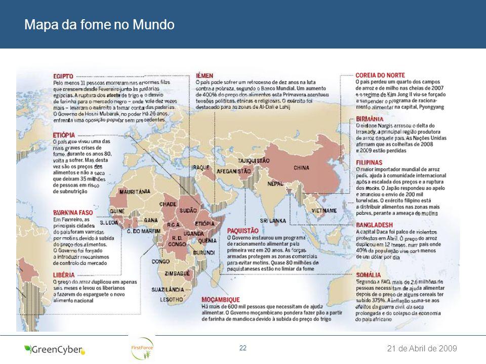 Mapa da fome no Mundo